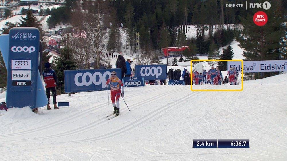Klikk på bildet for å forstørre. SIER FARVEL: Therese Johaug kjører hardt fra start på 15-kilometeren på Lillehammer. Ingen følger.