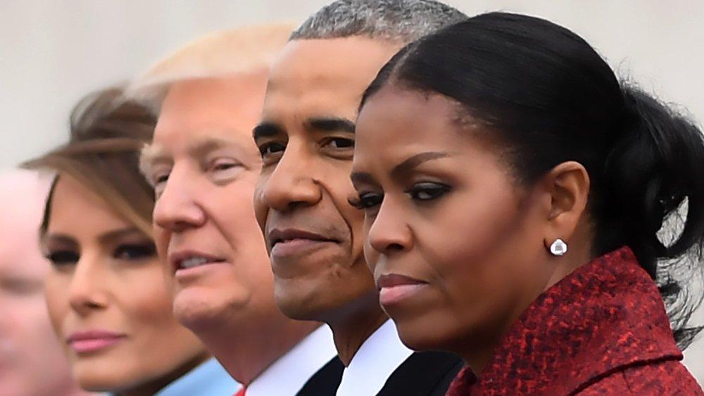 Klikk på bildet for å forstørre. Her er presidentparet Trump sammen med presidentparet Obama under innsettelsen av Donald Trump i 2017.