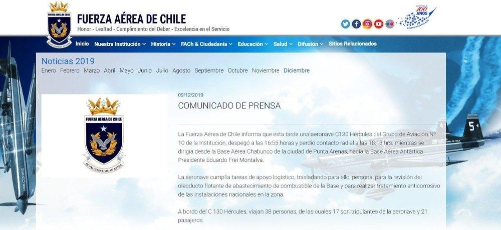 Klikk på bildet for å forstørre. MISTET RADIOKONTAKT: Det chilenske flyvåpenet bekrefter at et Hercules-fly med 38 personer om bord er savnet på vei fra flybasen i byen Punta Arenas til forskningsstasjonen Eduardo Frei i Antarktis. Basen mistet radiokontaktet med flyet klokka 06.13.