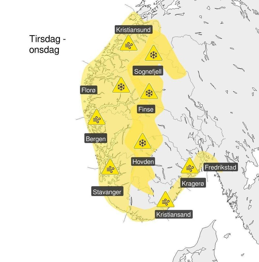 Klikk på bildet for å forstørre. GULE FAREVARSLER: Meteorologene har sendt ut gult farevarsel for store deler av Sør-Norge tirsdag. Sjekk yr.no/farevarsel for de siste oppdateringene.