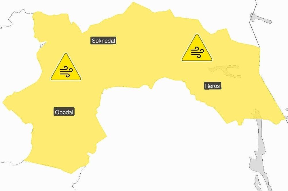 Klikk på bildet for å forstørre. TRØNDELAG: Meteorologene er tirsdag også ute med gult farevarsel for deler av Trøndelag, der det ventes kraftig vindkast fra sør.