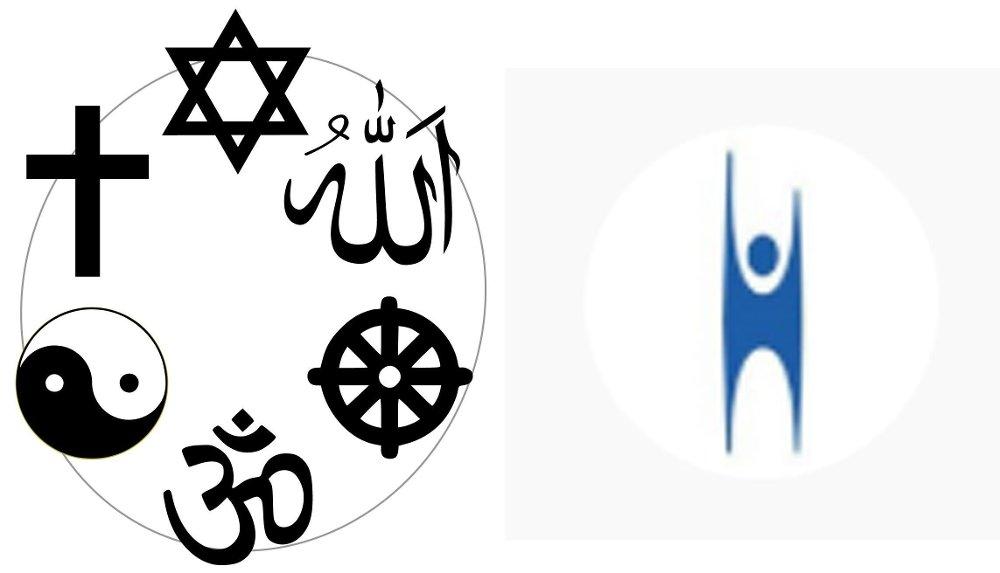 Klikk på bildet for å forstørre. Grafikk med religiøse symboler til venstre, humanistisk symbol til høyre.
