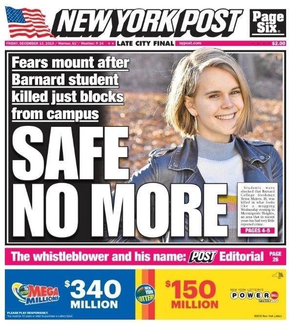 Klikk på bildet for å forstørre. Slik så forsiden ut i New York Post fredag morgen, før nyheten kom om at en 13-åring er pågrepet og siktet i saken.
