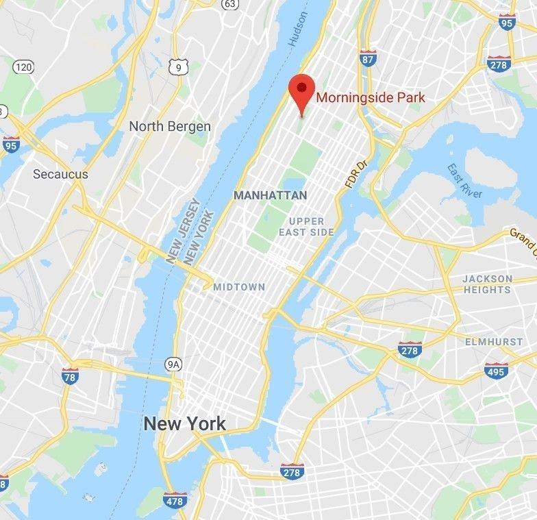 Klikk på bildet for å forstørre. Morningside Park ligger nord på Manhattan.
