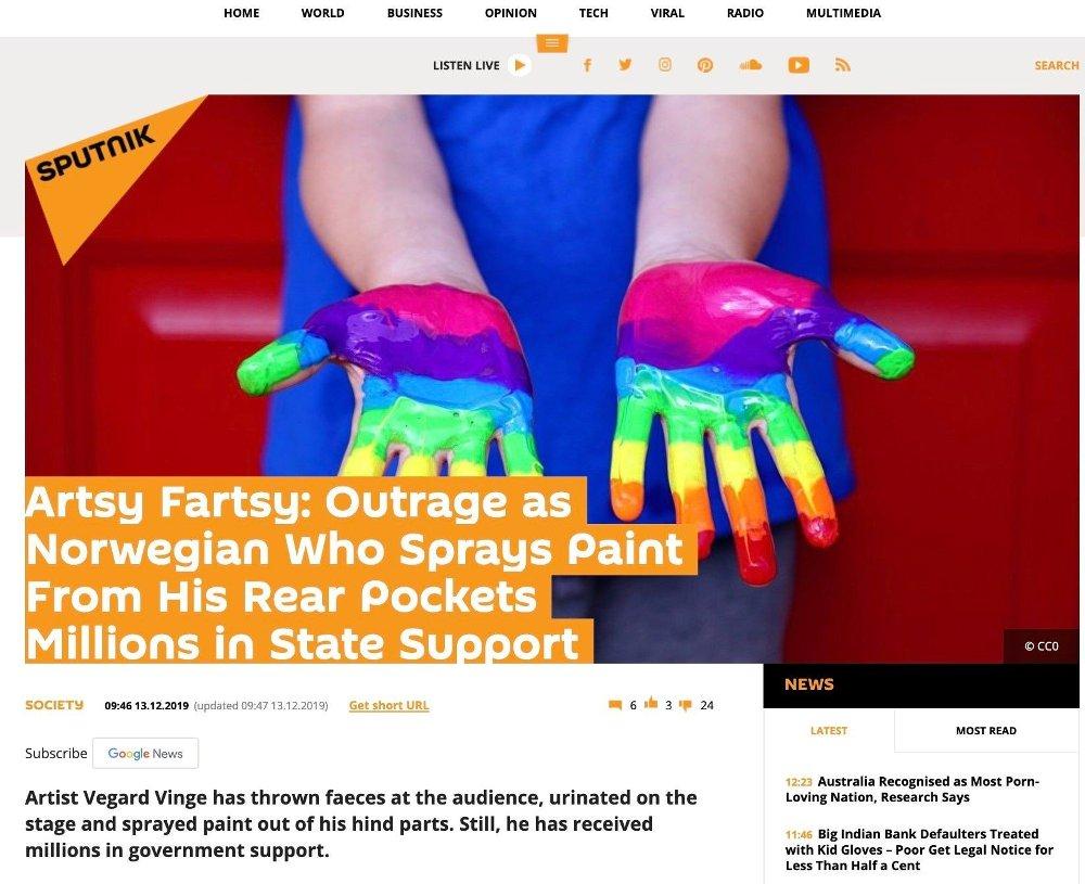 Klikk på bildet for å forstørre. LATTERLIG: Tildelingen av kunststøtte latterliggjøres i russisk media.