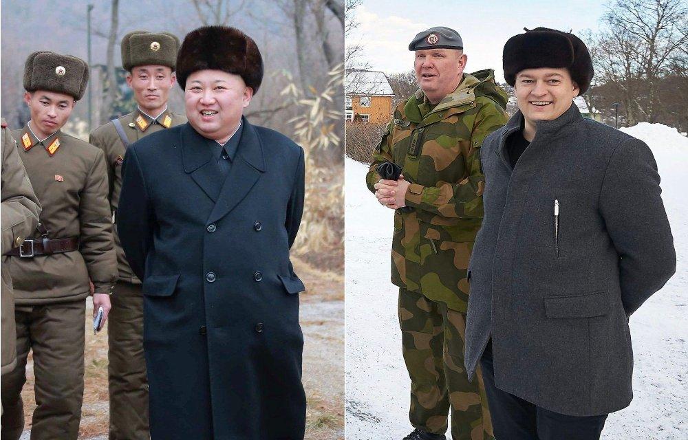 Klikk på bildet for å forstørre. TO DRÅPER VANN: Den nordkoreanske lederen Kim Jong Un til venstre, og Sp-ordfører Ivar Vigdenes til høyre.