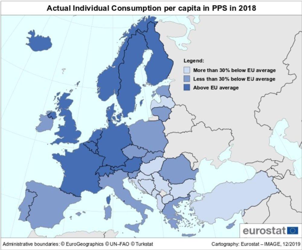 Klikk på bildet for å forstørre. FORBRUK I EUROPA: Landene farget mørkeblå er de som bruker mer enn gjennomsnittet i EU/EØS. De lyseblå landene bruker mindre enn 30 prosent under gjennomsnittet.
