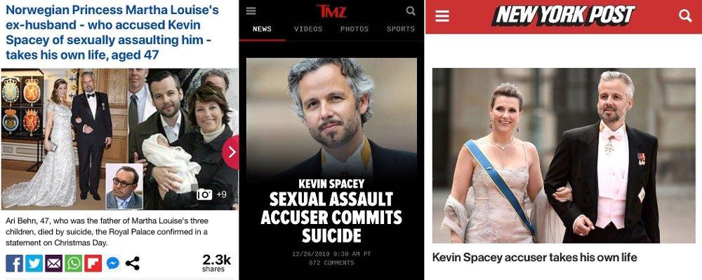 Klikk på bildet for å forstørre. Også Daily Mail, TMZ og The New York Post skriver at Ari Behn kom med anklager mot Kevin Spacey, i forbindelse med nordmannens selvmord.