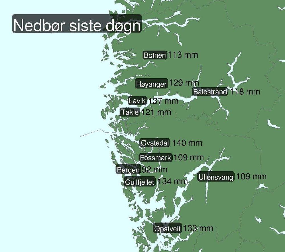 Klikk på bildet for å forstørre. Det siste døgnet har bydd på rikelig med regn på Vestlandet. Her er noen av målingene.