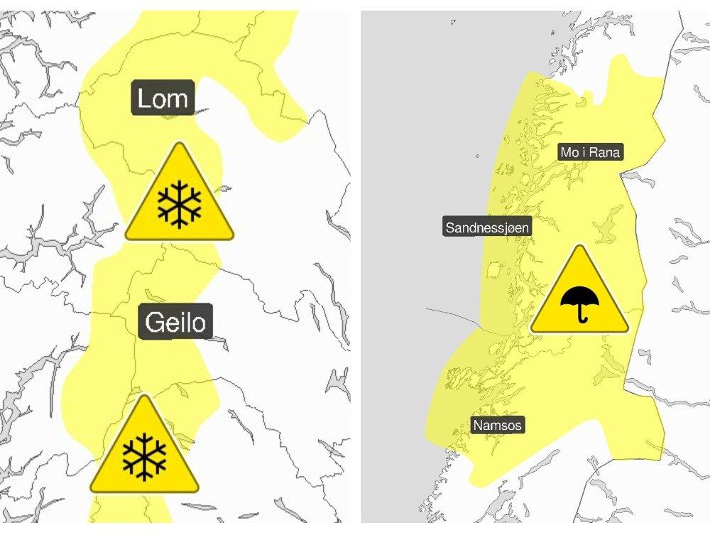 Klikk på bildet for å forstørre. GULE FAREVARSLER: Meteorologisk institutt er ute med flere farevarsler: Snøfokk og vind opp i liten storm i fjellet i Sør-Norge og mye regn i Trøndelag og Nordland.