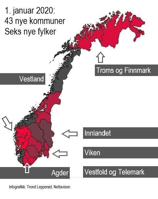 Kommuner Regionreformen Slik Er Det Nye Norgeskartet I 2020