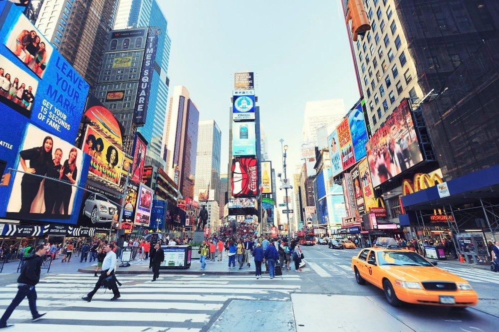 Klikk på bildet for å forstørre. Time Square, New York City Duffy square in Time Square, New York City. Vintage tones.