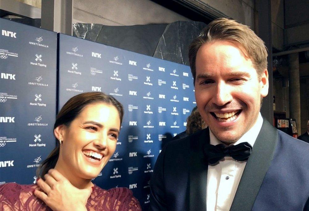 Klikk på bildet for å forstørre. PÅ PLASS: Emil Hegle Svendsen (til høyre) og Samantha Skogrand.