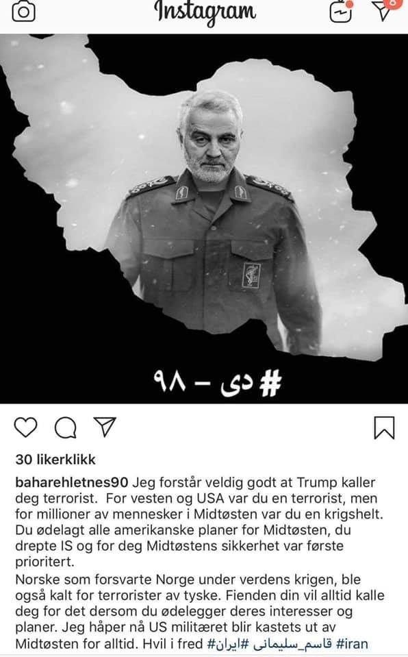 Klikk på bildet for å forstørre. HVIL I FRED: I en hyllest til general Qasem Soleimani skriver Bahareh Letnes at han var en krigshelt.