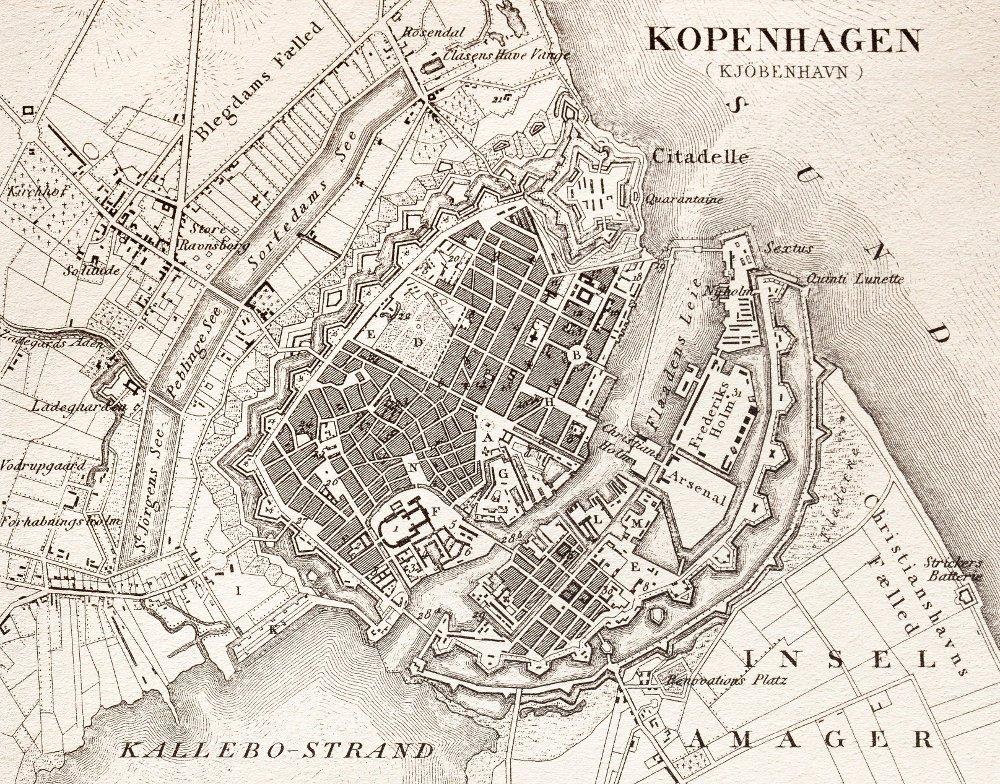 Klikk på bildet for å forstørre. Kart over København fra 1851
