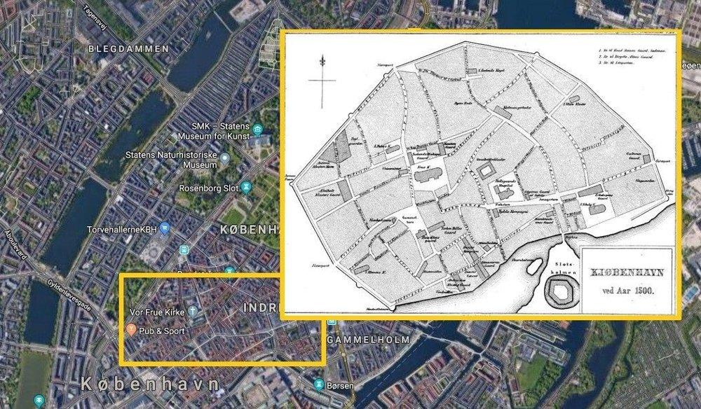 Klikk på bildet for å forstørre. Middelalderbyen i København