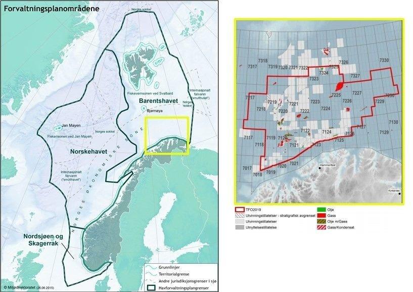 Klikk på bildet for å forstørre. Kart over alle verneområdene, innfelt kart over blokkene i det sørlige Barentshavet.