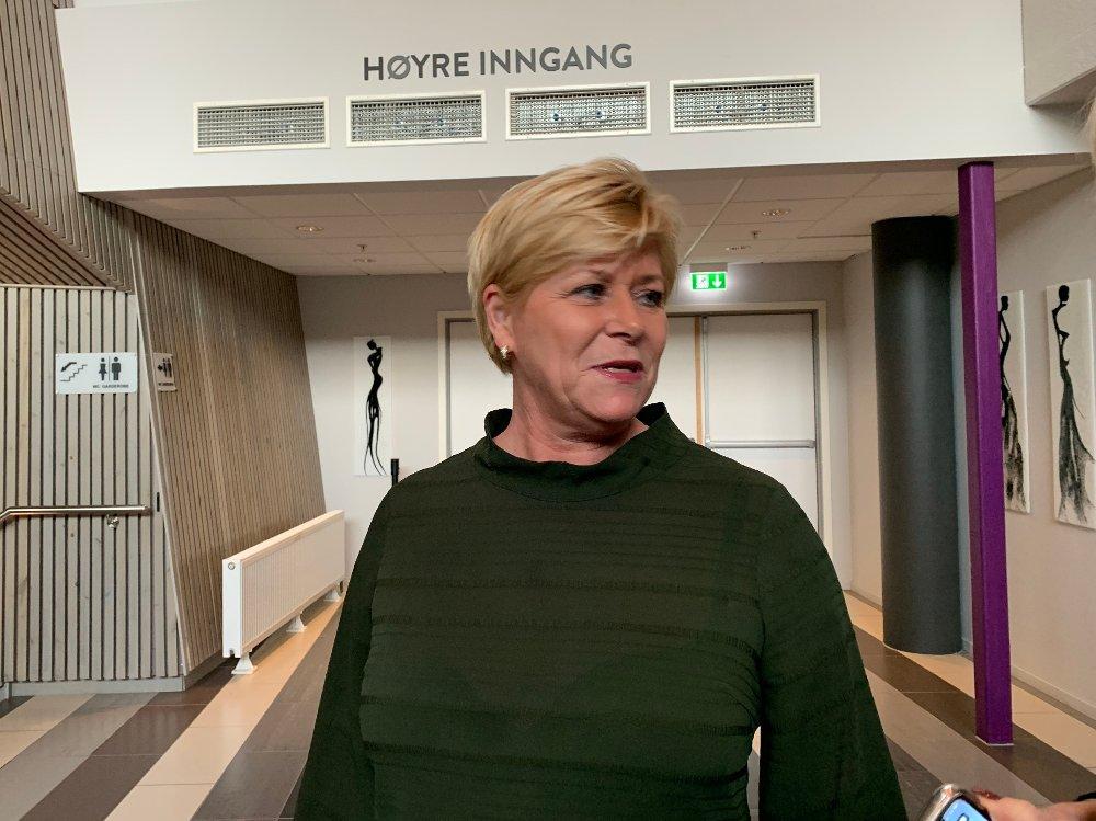 Klikk på bildet for å forstørre. Siv Jensen på Trøndelagsmøtet.