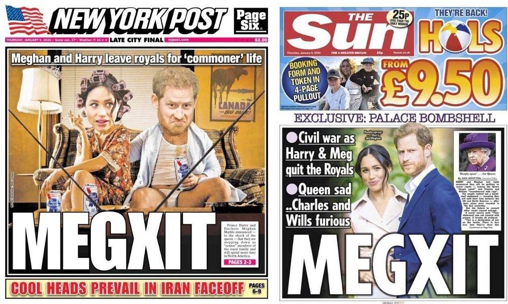 Klikk på bildet for å forstørre. Prins Harry og hertuginne Meghan får gjennomgå i tabloidene etter onsdagens avgjørelse. Her er forsidene til New York Post og The Sun på torsdag