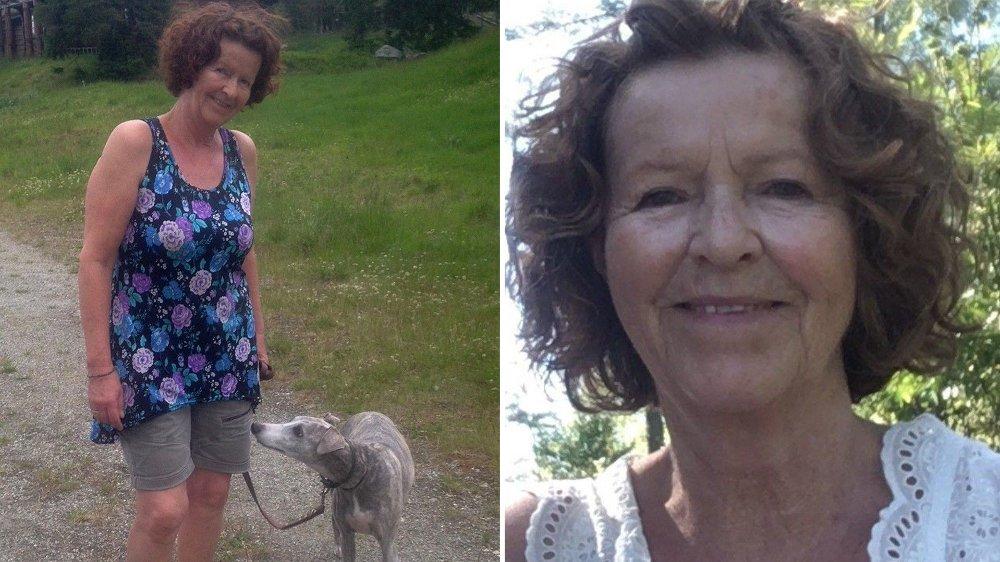 Klikk på bildet for å forstørre. Bilder av Anne-Elisabeth Hagen med hund, og et portrettbilde.