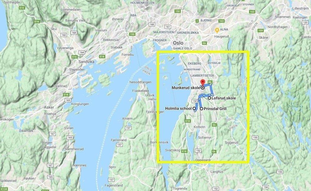 Klikk på bildet for å forstørre. Kart over Oslo, med Munkerud, Lofsrud og Holmlia i bydelen Søndre Nordstrand på Oslos østkant, innfelt.