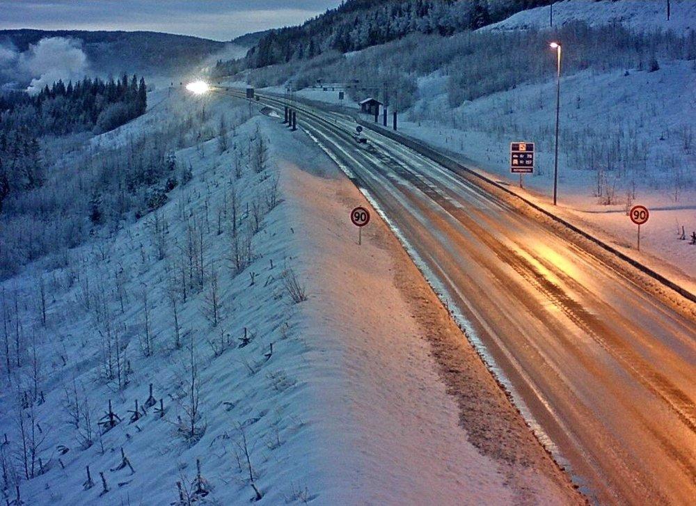 Klikk på bildet for å forstørre. Bilde fra riksvei 7, Nordstjernlia, onsdag morgen.