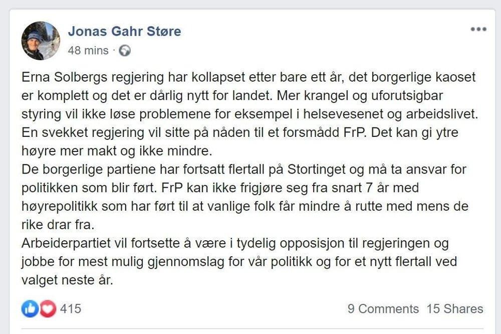 Klikk på bildet for å forstørre. ADVARER: Ap-leder Jonas Gahr Støre advarer mot en svekket regjering som må styre på et skuffet Frps nåde.