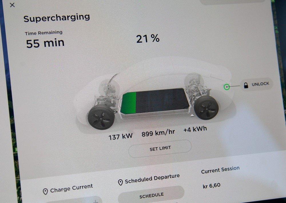 Klikk på bildet for å forstørre. Ladehastighet på 137 kW må kunne anses som anstendig.