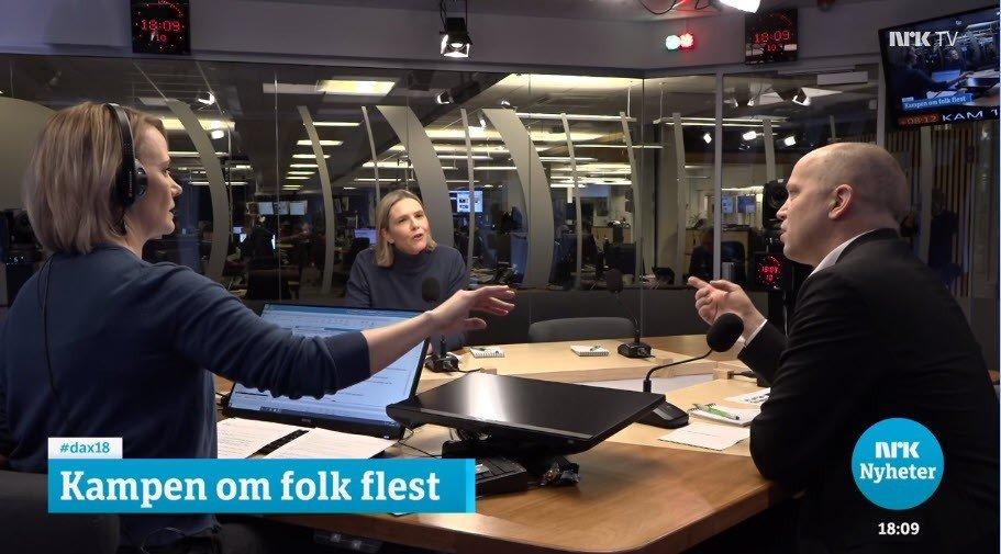 Klikk på bildet for å forstørre. Dagsnytt 18-programleder Sigrid Sollund, Sylvi Listhaug og Trygve Slagsvold Vedum.