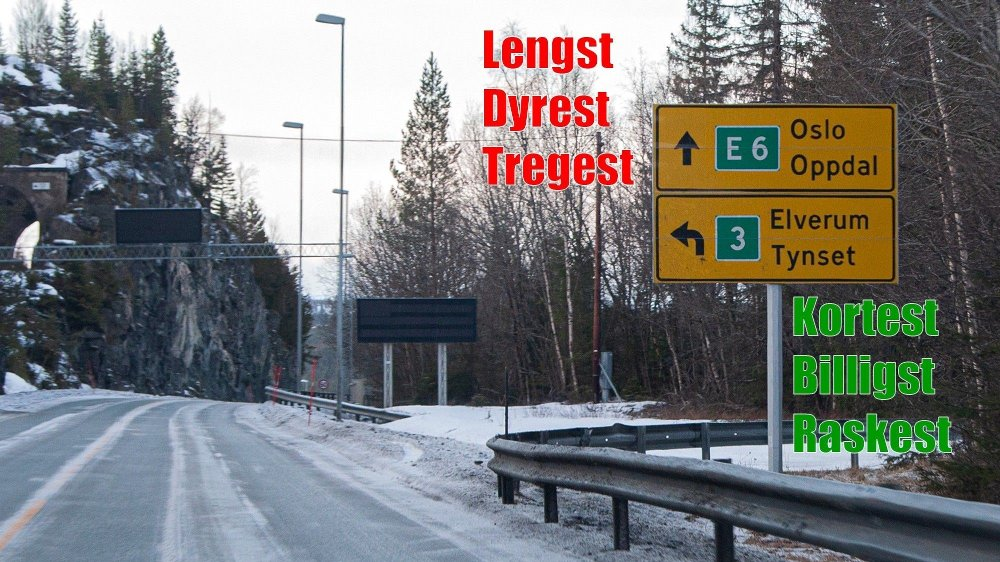 Klikk på bildet for å forstørre. Skal du kjøre til Oslo fra Trondheim, er det å følge skiltingen en dårlig idé.