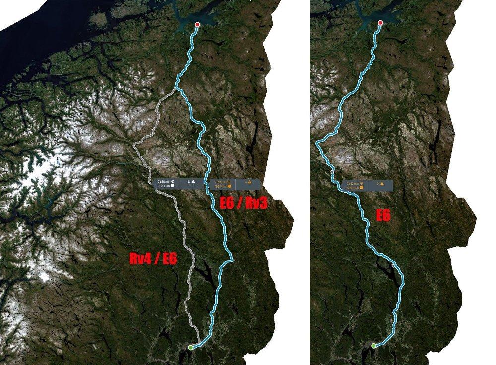 Klikk på bildet for å forstørre. Statens vegvesen anbefaler en av de to rutene til venstre. E6 er som en stor S-kurve.