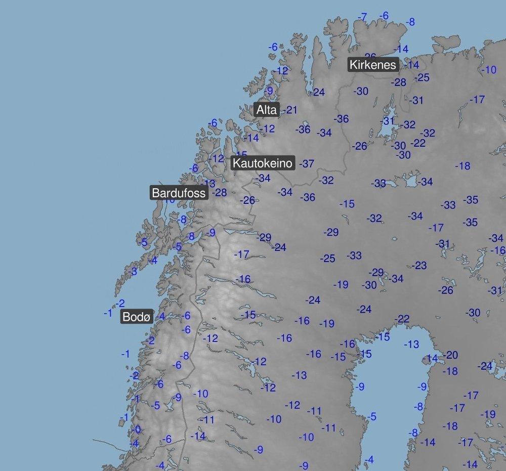 Klikk på bildet for å forstørre. MINIMUMSTEMPERATURER: Dette kartet viser minimumstemperaturene i Kautokeino i natt.