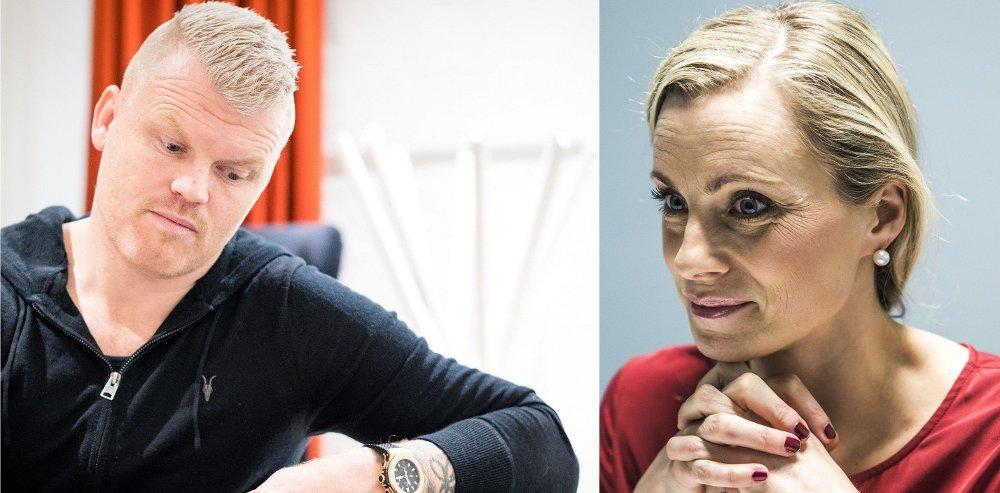 Klikk på bildet for å forstørre. GOD MED BALL - IKKE MED LOMMEBOK: Tidligere Liverpool-spiller John Arne Riise får en leksjon av forbrukerøkonom Silje Sandmæl.
