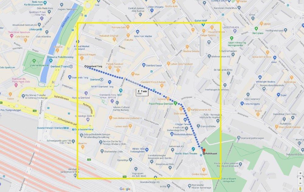 Klikk på bildet for å forstørre. Kart over Grønland i Oslo sentrum