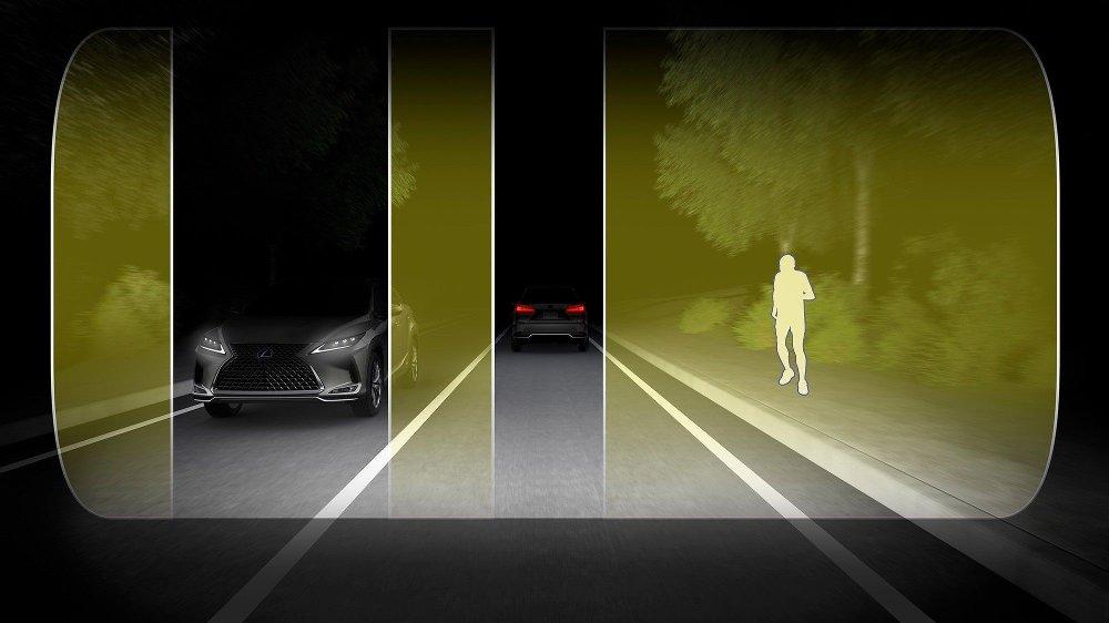Klikk på bildet for å forstørre. Blade Scan skal kunne maskere ut områder som kan bli blendet at fjernlyset, samtidig som det lyser opp andre områder.