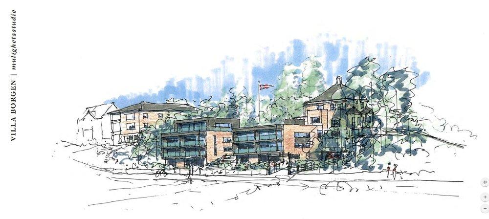 Klikk på bildet for å forstørre. I denne versjonen av prosjektet ved Villa Borgen, er det tegnet inn en leilighet på toppen av den ene bygningen, i tråd med en leilighet Gottschalk forteller at de tenkte Imran Saber skulle få.