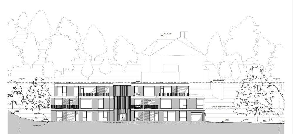 Klikk på bildet for å forstørre. Her ser du hvordan leiligheten var tenkt plassert foran Villa Borgen. Det skulle være seks store leiligheter fordelt på to bygg med tre etasjer i hver. Det er dette prosjektet som fikk avslag i 2018.