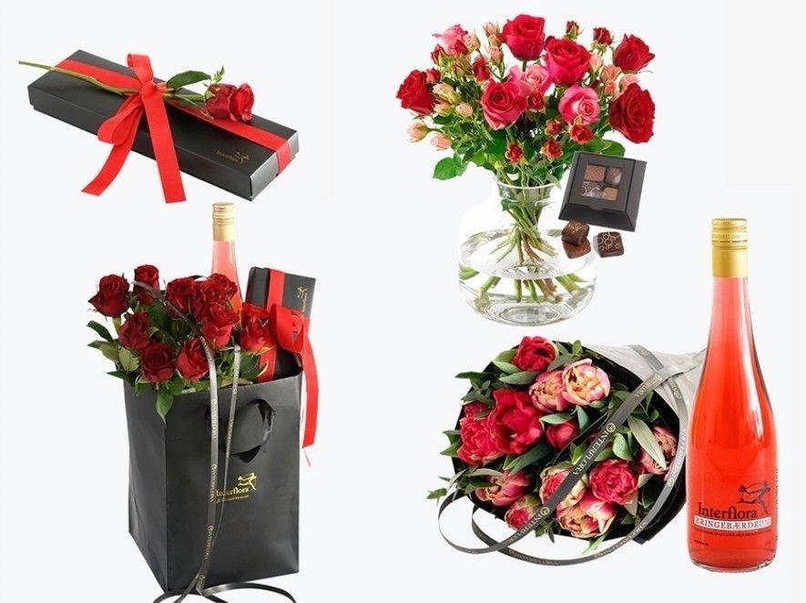 Klikk på bildet for å forstørre. Et utvalg gavepakker du kan bestille fra Interflora