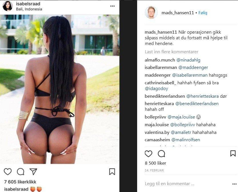 Klikk på bildet for å forstørre. Foto tatt fra Instagram av Isabel Raad i bikini sett bakfra.