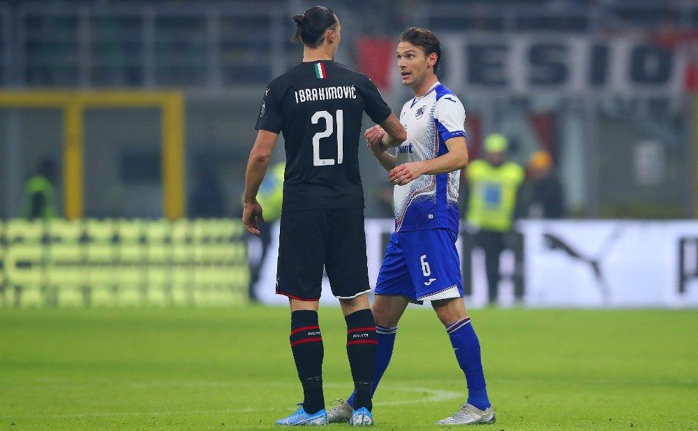 Klikk på bildet for å forstørre. TALER FOR LIKEVERD: Sampdorias Albin Ekdal. Her i samtale med Zlatan Ibrahimovic rett etter sluttsignalet i sistnevntes første kamp etter comebacket i Milan.