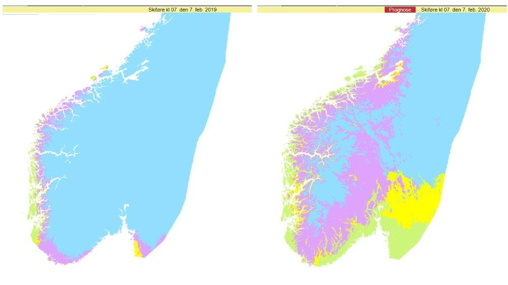 Klikk på bildet for å forstørre. SKIFØRE I FJOR OG NÅ: Dette kartet fra nettstedet senorge.no viser skiføre i Sør-Norge 7. februar 2019 . Kartene viser antatt skiføre basert på snøtilstand og snødybde beregnet med en snøkartmodell og værforhold siste døgn.