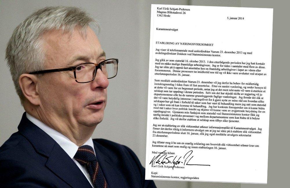 Klikk på bildet for å forstørre. Bilde av tidligere statsråd Karl Eirik Schjødt Pedersen og brevet der han søkte om etterlønn.