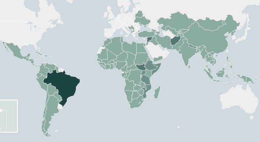 Klikk på bildet for å forstørre. Land som har fått bistand fra Norge i perioden 2013-2018.