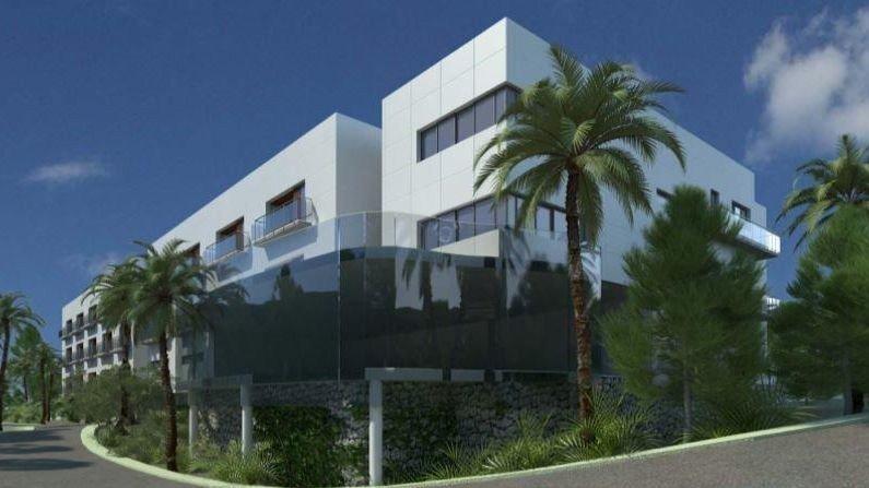 Klikk på bildet for å forstørre. Bilde av sykehjemmet som skulle vært bygd i Spania.