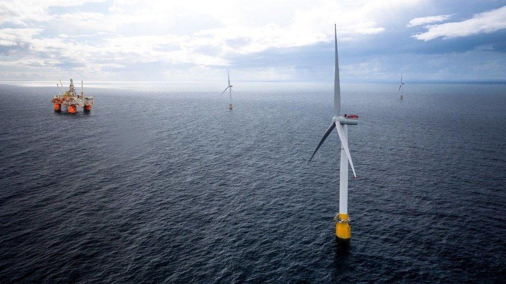 Klikk på bildet for å forstørre. Høsten 2018 utredet Equinor mulighetene for å forsyne Gullfaks- og Snorre-feltene med strøm fra flytende havvind. Prosjektet heter