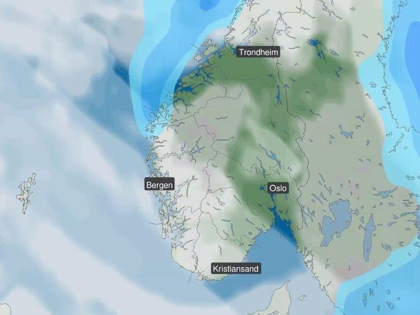 Klikk på bildet for å forstørre. ROER SEG LITT: Helga i Sør-Norge preges av lavtrykk og økende vind. Lørdag (bildet) ventes det å roe seg litt, men på kvelden blåser det opp igjen.