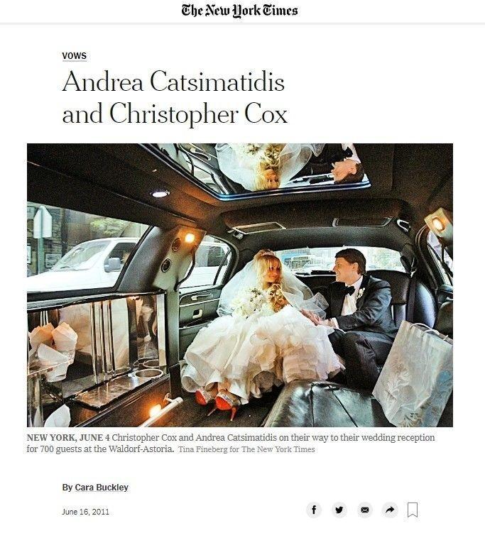 Klikk på bildet for å forstørre. Andrea Catsimatidis dukket for første gang opp i media i New York Times i 2011, i forbindelse med at hun giftet seg med Christopher Nixon Cox, som er barnebarnet til tidligere president Richard Nixon. Ekteskapet varte i bare fire år.