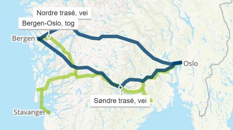 Klikk på bildet for å forstørre. De blå linjene viser en nordre og søndre trasé hvor ny E134 kan gå. Nye Veier presiserer at linjene ikke er et endelig trasévalg. De grønne linjene viser traseene for en alternativ toglinje.