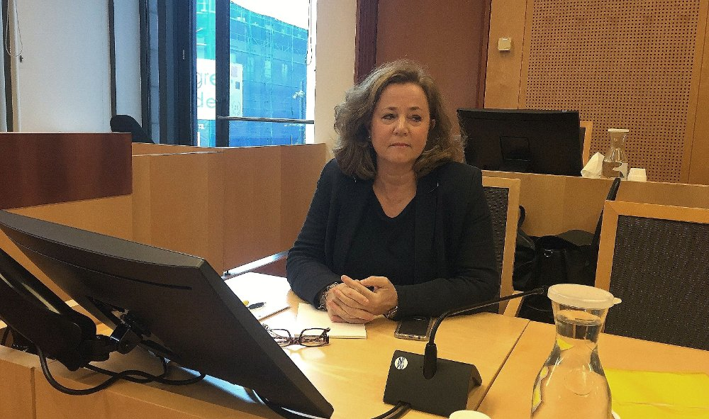 Klikk på bildet for å forstørre. Advokat Unni Fries, som forsvarer draps- og terrortiltalte Philip Manshaus, sitter i Oslo tingrett i et tidligere fengslingsmøte.