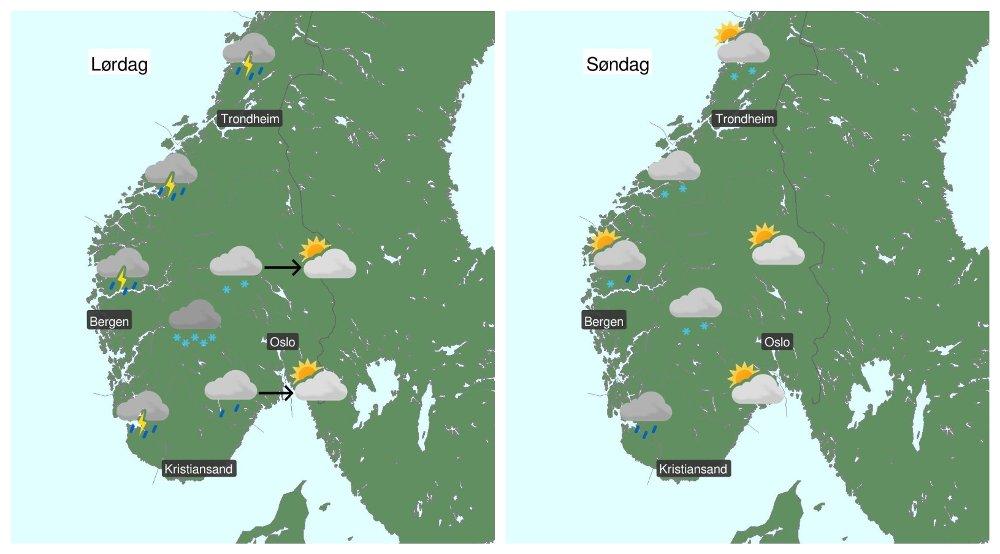 Klikk på bildet for å forstørre. MYE SNØ I FJELLET: Nedbør vil prege været i vest, mens Østlandet slipper lettere unna. I fjellet kommer det mye snø, ifølge meteorologen. Søndag kan det bli gradvis lettere vær også i vest.